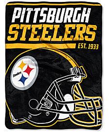 "Northwest Company Pittsburgh Steelers Micro Raschel 46x60 ""40 Yard Dash"" Blanket"