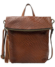 Patricia Nash Luzille Convertible Woven Leather Backpack, Created for Macy's
