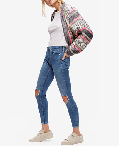 Free People Cotton Ripped Skinny Jeans