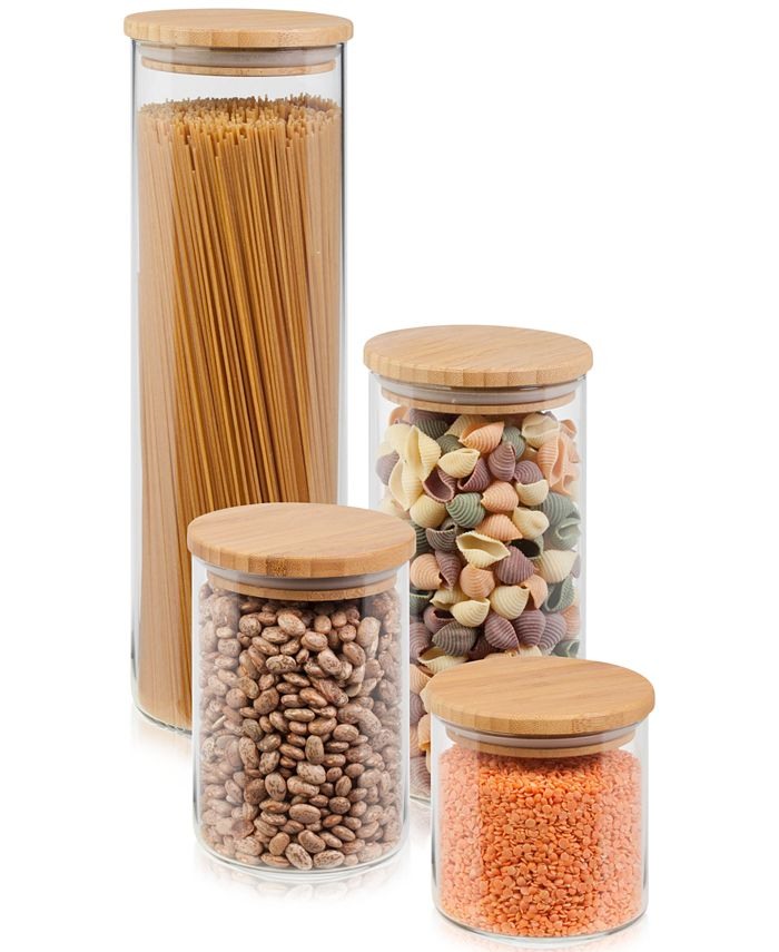 Honey Can Do - 4-Pc. Glass & Bamboo Canister Set