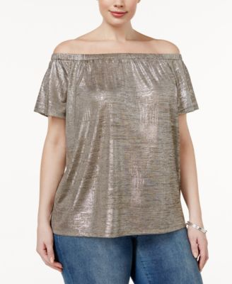 INC International Concepts Plus Size Metallic Off-The-Shoulder Top, Only at Macy's