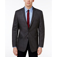 Calvin Klein Men's Slim-Fit Charcoal Windowpane Sport Coat