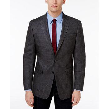 Calvin Klein Men's Slim-Fit Charcoal Windowpane Sport Coat