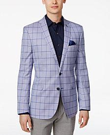 Nick Graham Men's Slim-Fit Stretch Light Blue Windowpane Sport Coat