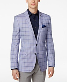 Nick Graham Men's Slim-Fit Stretch Light Blue Windowpane Sport Coat