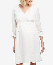 Daniel Rainn Maternity Split-Neck A-Line Dress