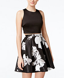 Sequin Hearts Juniors' 2-Pc. Crop Top and Floral-Print Skirt, Created for Macy's