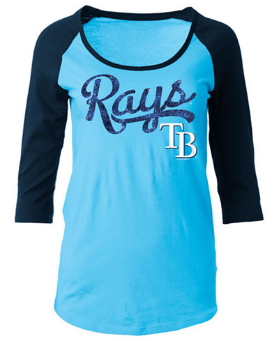 5th & Ocean Women's Tampa Bay Rays Sequin Raglan T-Shirt