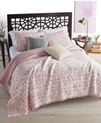 Beach Wash 100% Cotton Reversible Sunset Pink Twin Quilt, Created For Macyu0027s