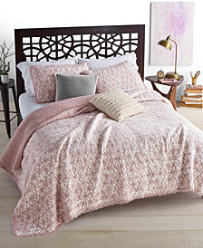 CLOSEOUT! Whim by Martha Stewart Collection Beach Wash  100% Cotton Reversible Sunset Pink Twin Quilt, Created for Macy's