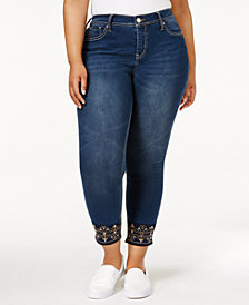 Hydraulic Trendy Plus Size Emma Embellished Clyde Wash Skinny Jeans
