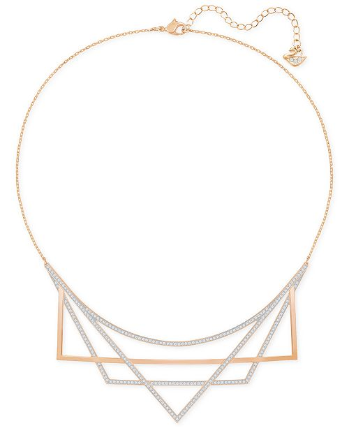 Swarovski Rose Gold-Tone Pavé Geometric Necklace