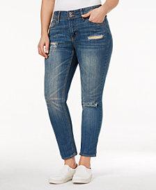 Rampage Trendy Plus Size Chloe Ripped Long Beach Wash Skinny Jeans