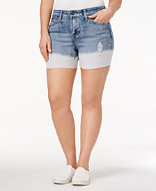 Rampage Trendy Plus Size Dip-Dyed Denim Shorts