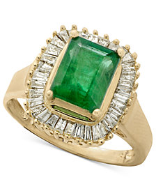Gemma by EFFY Emerald (1-3/8 ct. t.w.) and Diamond (1/2 ct. t.w.) Ring in 14k White Gold