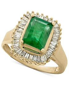 Gemma by EFFY® Emerald (1-3/8 ct. t.w.) and Diamond (1/2 ct. t.w.) Ring in 14k White Gold