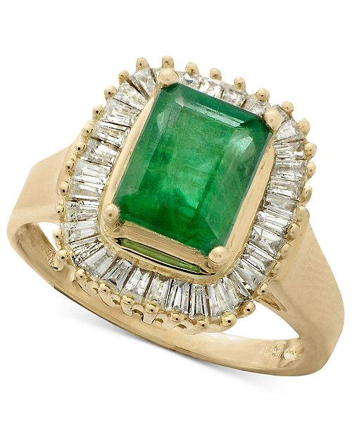 EFFY Collection Gemma by EFFY Emerald (1-3/8 ct. t.w.) and Diamond (1/2 ct. t.w.) Ring in 14k White Gold