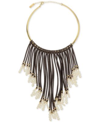 Image of INC International Concepts Gold-Tone Imitation Pearl and Faux Suede Fringe Necklace, Only at Macy's