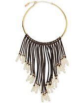 INC International Concepts Gold-Tone Imitation Pearl and Faux Suede Fringe Necklace, Created for Macy's