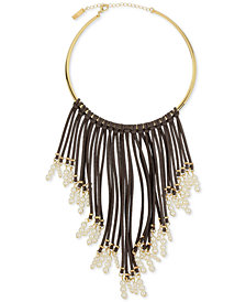 I.N.C. Gold-Tone Imitation Pearl and Faux Suede Fringe Necklace, Created for Macy's