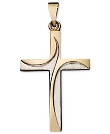 Swirl Cross Pendant in 14k Yellow and White Gold