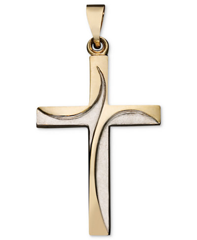 14k gold two tone pendant swirl cross necklaces jewelry 14k gold two tone pendant swirl cross mozeypictures Gallery