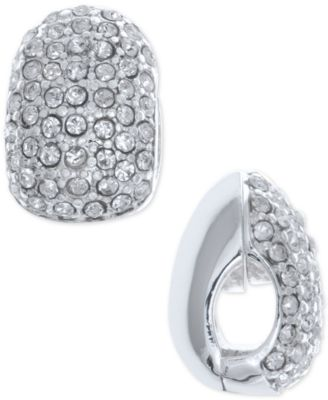 Image of Anne Klein Silver-Tone Black Crystal Huggie Clip-On Earrings