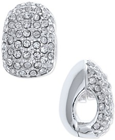 Silver-Tone Black Crystal Huggie E-Z Comfort Clip-On Earrings