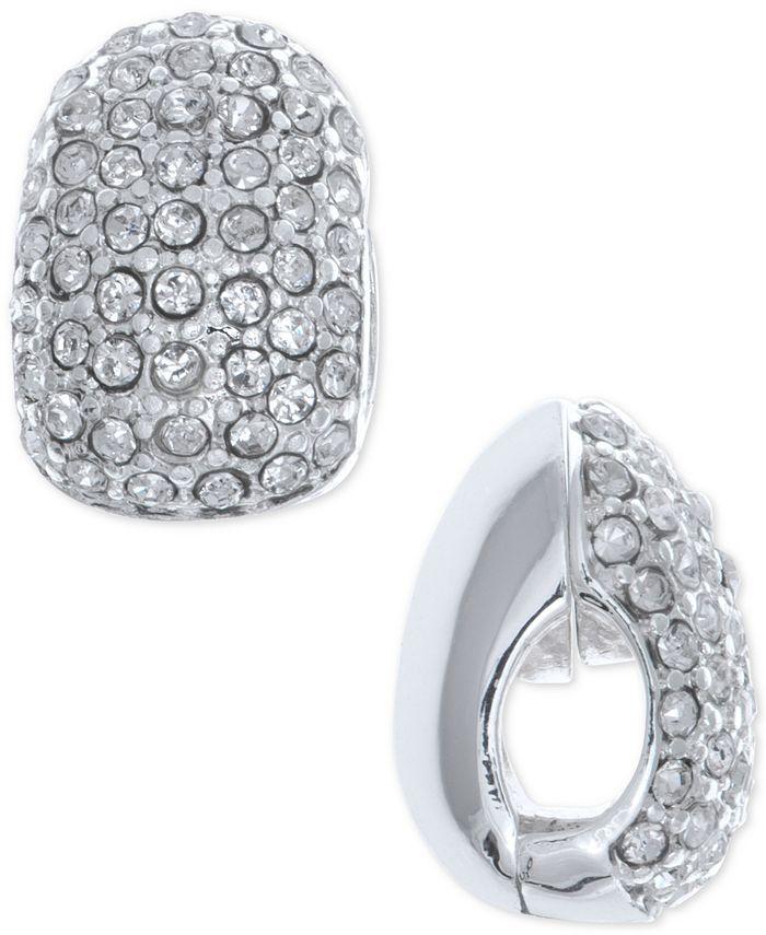 Anne Klein - Silver-Tone Black Crystal Huggie Clip-On Earrings