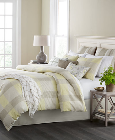 CLOSEOUT! Martha Stewart Collection Everett Plaid Reversible 10-Pc. Queen Comforter Set, Created for Macy's
