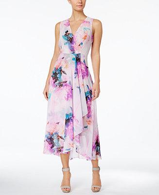 Calvin Klein Floral Print High Low Midi Dress Dresses