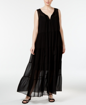 1920s Plus Size Dresses Calvin Klein Plus Size Tiered Maxi Dress $154.00 AT vintagedancer.com