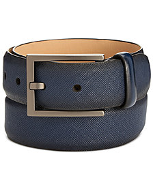 Alfani Men's Faux-Saffiano Navy Belt, Created for Macy's
