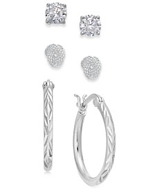Giani Bernini Sterling Silver 3-Pc. Set Cubic Zirconia Stud & Hoop Earrings, Created for Macy's