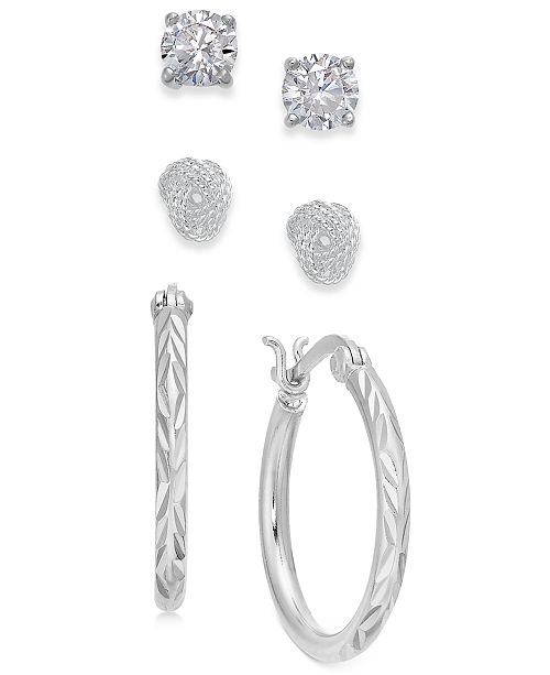 Giani Bernini Sterling Silver 3-Pc. Set Cubic Zirconia Stud & Hoop Earrings, Created for Macy's