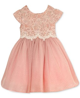 Rare Editions Sparkle Mesh Dress Little Girls Dresses