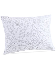 Cotton Medallion Gray Quilted Standard Sham