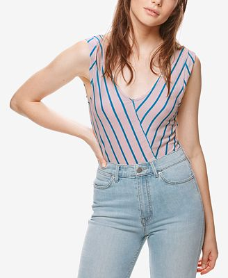 Free People Memphis Striped V-Neck Top