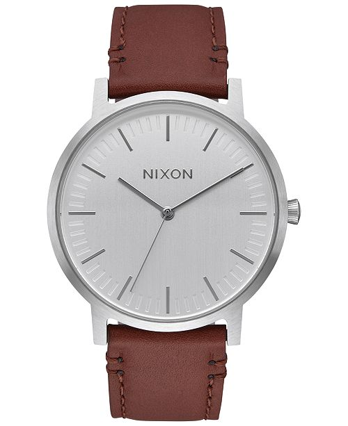 Nixon Men S Porter Leather Strap Watch 40mm Reviews Watches Jewelry Watches Macy S