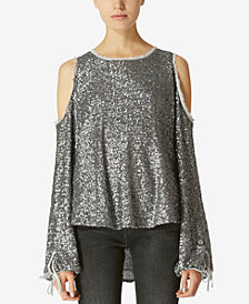 Avec Les Filles Sequined Cold-Shoulder Top