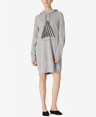 Avec Les Filles Hooded Cotton Sweatshirt Dress