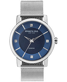 Kenneth Cole New York Men's Diamond-Accent Stainless Steel Mesh Bracelet Watch 43.5mm KC15105002