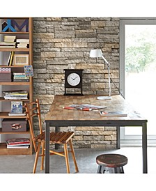Ledgestone Gray and Terracotta Wallpaper