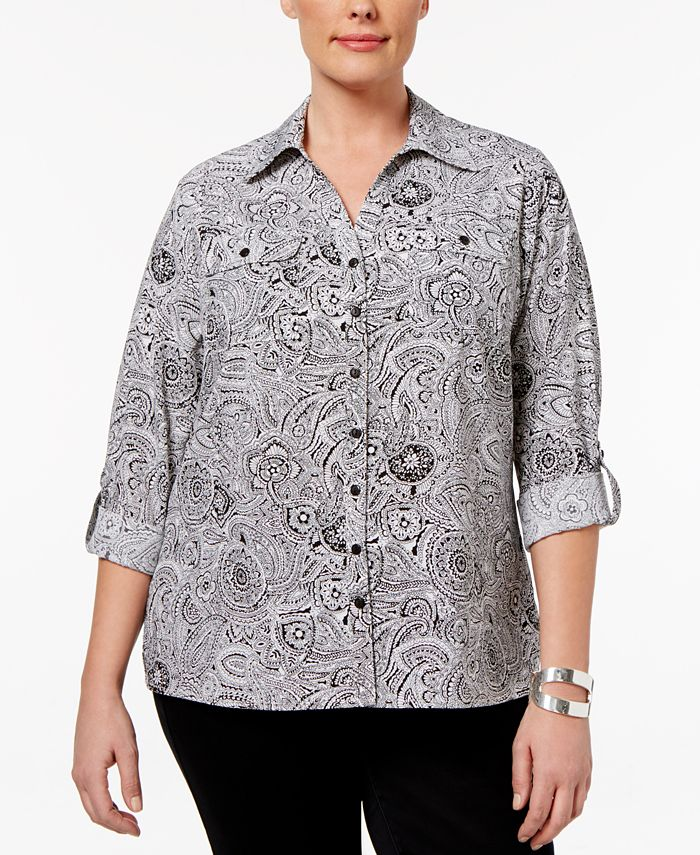 NY Collection - Plus Size Dot-Print Utility Blouse