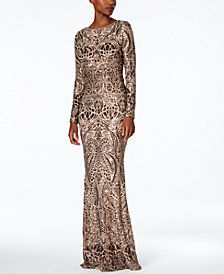 Betsy & Adam Long-Sleeve Sequined Gown