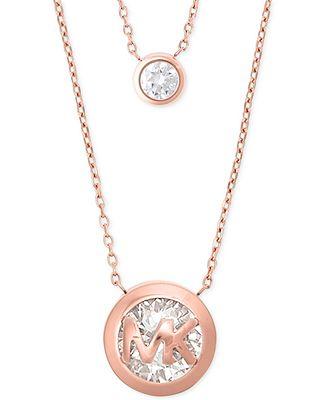 Michael kors crystal logo double row pendant necklace exclusively michael kors crystal logo double row pendant necklace exclusively at macys mozeypictures Image collections