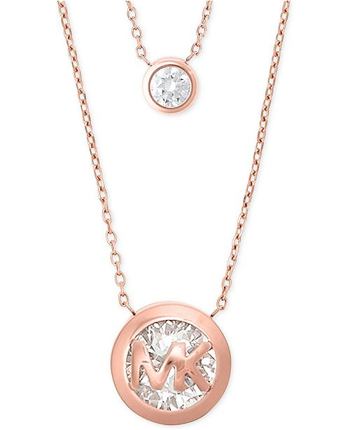 triangle kors pendant lyst goldtone necklace rose michael paveacute in motif normal brilliance product jewelry pink necklacerose gold pav