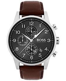 Hugo Boss Men's Chronograph Navigator Brown Leather Strap Watch 44mm 1513494
