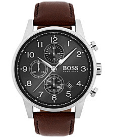 BOSS Hugo Boss Men's Chronograph Navigator Brown Leather Strap Watch 44mm 1513494