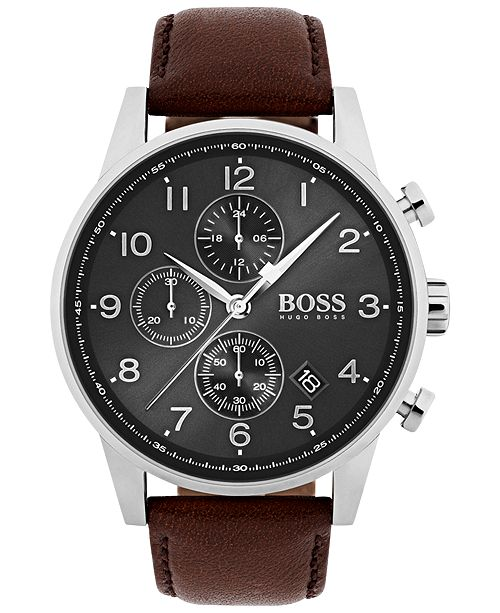 53d6a36de03da ... BOSS Hugo Boss Men s Chronograph Navigator Brown Leather Strap Watch  44mm 1513494 ...